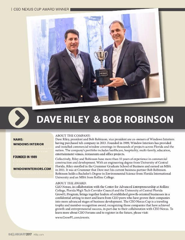 President/VP and Co-Founders of Window Interiors Dave Riley and Bob Robinson